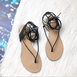 Splendid black wrap lace up sandal